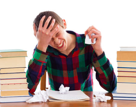 Stressful student because he ran out of time.