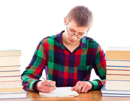 essay: Wise student writing his homework patiently.