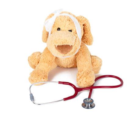 medical attendance: Injured teddy bear needing medical attendance. Stock Photo