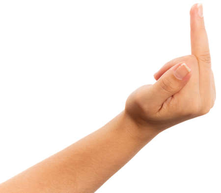 nonverbal communication: Female hand showing obscene sign with hand. Stock Photo
