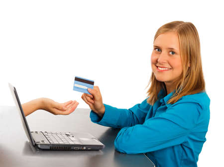 online safety: Happy woman shopping easily online with creditcard. Stock Photo