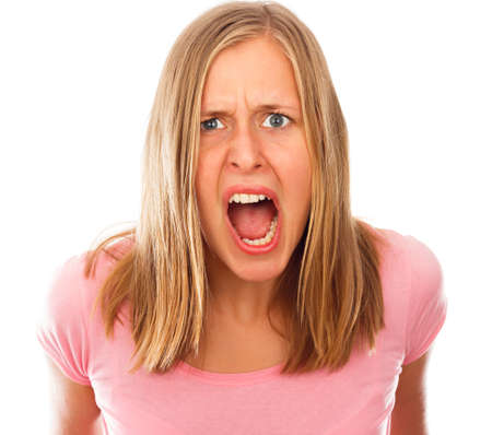 hysterical: Angry stressful young woman shouting out loud. Stock Photo