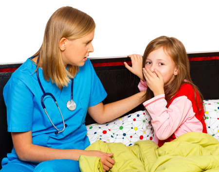 child patient: Doctor examining her little patient with severe coughing.