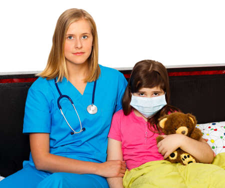 professionalist: Sick girl with influenza at the hospital with health care professionalist. Stock Photo