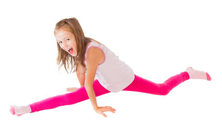 Funny movement, girl trying to make splits.