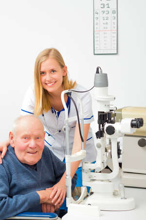 Old patient needing help at the optometrist