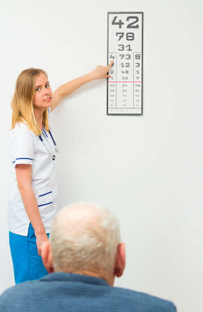 typescript: Young optician showing the numbers on the typescript for elderly patient.
