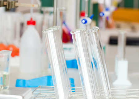 distilled water: Chemistry laboratory equipment prepared for medical research. Stock Photo