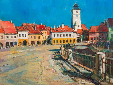 Sibiu architecture panorama landmark handmade painting of the city centre.