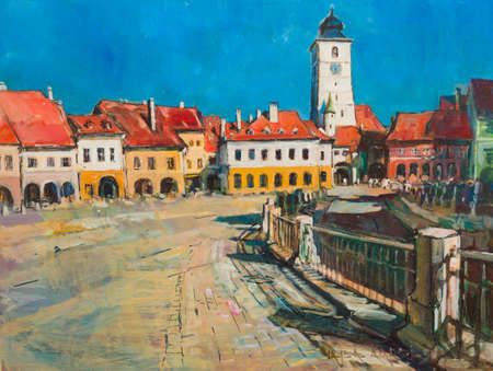 panorama city: Sibiu architecture panorama landmark handmade painting of the city centre.