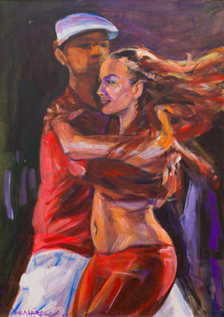 Artistic canvas painting of latin salsa dancing couple. Stock Photo