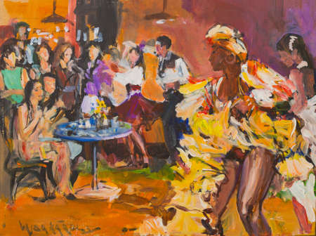 Beautiful dance party painting with passionate salsa and bachata dancers. Stok Fotoğraf