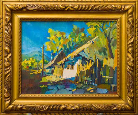 Stylishly framed painting of old transylvanian buildings with cobblestone road.