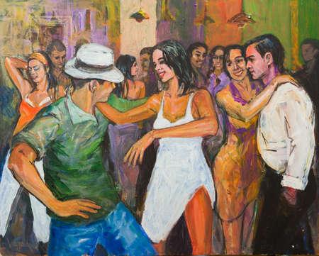El trabajo artístico de pintura que representa la salsa y la bachata bailando entretenimiento nocturno público mayor.