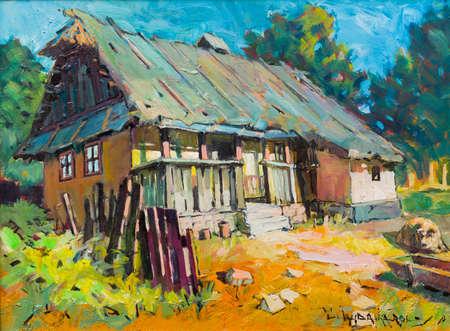 painting art: Transylvania architecture landscape handmade painting of village art attraction.