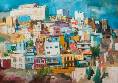 canvas art: Handmade painting of  Las Palmas the Gran Canaria and Las Canteras beach, Canary Islands, Spain. Stock Photo