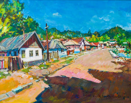 Closeup of rural street canvas painting with clean sky, sunlight and shadow in Baia Mare.