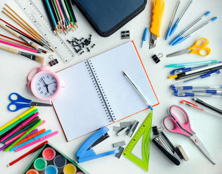 school supplies, stationery shot from above, mockup in a circle with copy space in the center Stok Fotoğraf