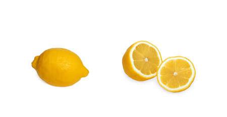 Lemon whole and cut, yellow fruit on white background, isolate, food, vitamin C Stok Fotoğraf