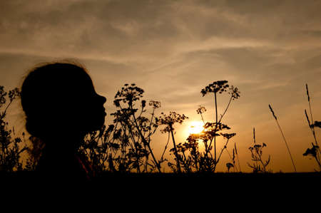 silhouette of a little girls head and grass at sunset