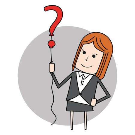 business woman holding up an question mark balloon on grey circle