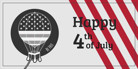 Independence day card with black and white USA hot air balloon and red stripes on background