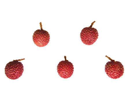 Fresh red color Lychee which bears small fleshy tropical fruit from Thailand isolated on white background and space for text. Stock Photo