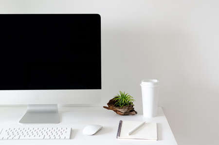 Modern personal computer screen on white table with a cup of coffee and Tillandsia air plant with space for text on white wall for working and office concept.