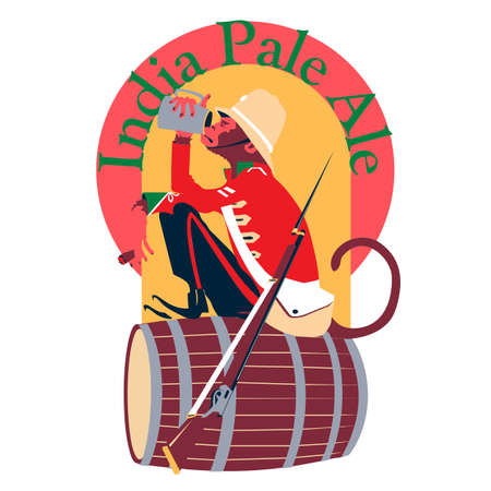 Label for India Pale Ale with a monkey in a colonial red uniform.