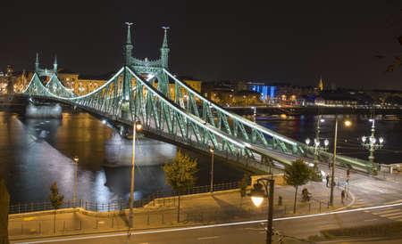 Budapest, the Szabadság had in the night Stock fotó