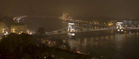 Budapest in the night, the Parliament and the Danube
