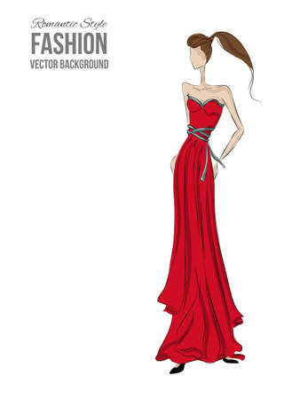 girl in red dress: Fashion model. Sketch silhouette. Vector draw model. Vector fashion style. Fashion background. Vintage style background. Bisyness fashion style. Romantic style. Dress sketch. Red dress. Coctale dress. Illustration