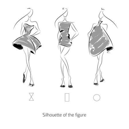 Vector fashion model. Sketch silhouette figure. Hand draw model. Vector fashion style. Ilustração