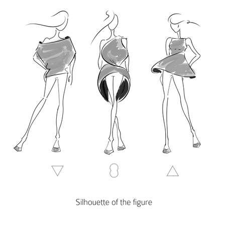 Vector fashion model. Sketch silhouette figure. Hand draw model. Vector fashion style Ilustração