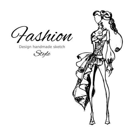Vector fashion model. Vector draw model. Vector fashion style. Fashion background. Vintage style background. Business fashion style. Casual style. Dress sketch. Grunge fashion sketch