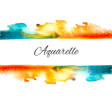 Vector watercolor splash background. Colorful vector aquarelle background. Vintage vector frame. Orange and blue  blot. Sign board. Watercolor stamp
