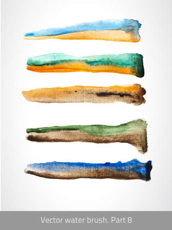 Vector set colorful stroke. Vector watercolor brush collection. Art template. Texture color lines. Vector handmade design. Decorative blue stroke