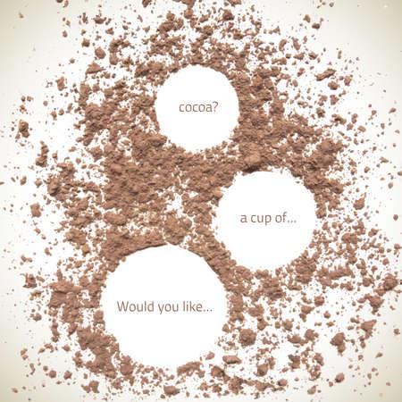 Vector natural cocoa  texture. Vector cocoa. Organic frame background. Food texture. Cocoa splash background