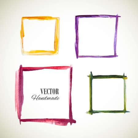 Vector watercolor set frame. Colorful texture frame. Vector handmade design elements. Vintage set of frame . Art advertising template. Grunge color frame. Sketch frame. Ilustração