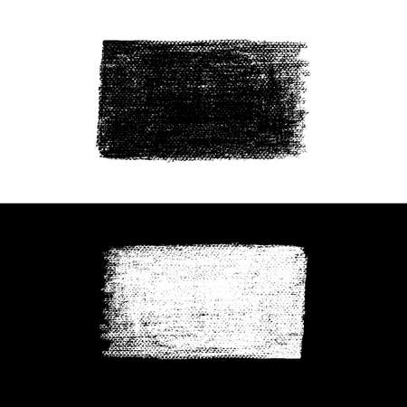 Vector brush texture. Vector design stamp. Art advertising template. Grunge abstract background. Contrast blot. Business artistic label. Black and white Illustration