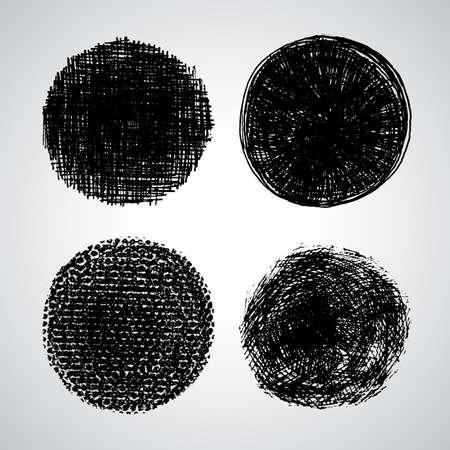 sello: Conjunto de vectores grunge. Pen textura hecha a mano. Set sello de dise�o. Fondo cepillo oscuro. Elementos de dise�o vectorial Negro. Boceto hecho a mano Vector