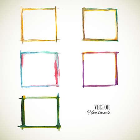 Watercolor set frame. Vector texture frame. Vector handmade design elements. Vintage set frame. Grunge color frame. Sketch frame. Orange, blue, green, violet frame.