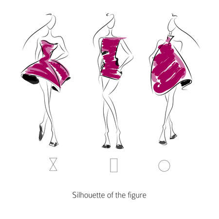 moda: Vector modello di moda. Sketch figura silhouette. Mano modello di pareggio. Vector fashion style