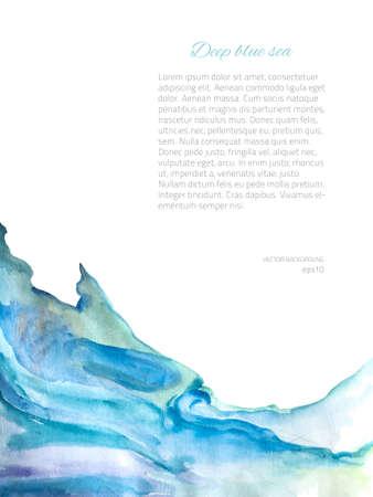 agua: Vector fondo de la acuarela. Textura abstracta de colores. Elementos de diseño vectorial. Fondo de la vendimia. Plantilla de la publicidad Art. Texure acuarela azul. Marco de la acuarela
