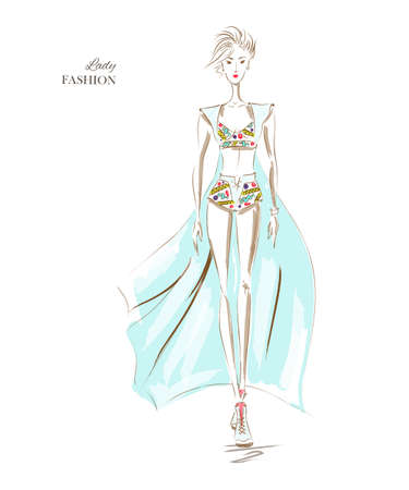 a glamour: Vector fashion model. Sketch silhouette. Vector draw model. Vector fashion style. Fashion background. Vintage style background. Dress sketch. Business fashion style. Elegant blue dress Illustration