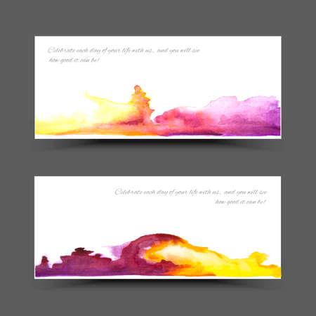Vector watercolor banner. Pink abstract texture. Design banner. Painterly background. Vector watercolor splash Ilustração