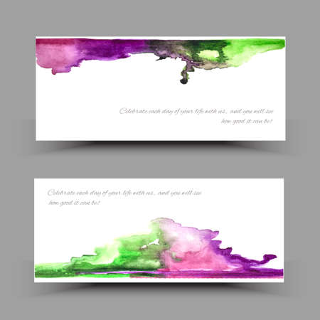 painterly: Vector watercolor set banners. Colorful abstract texture. Vector design elements. Painterly background. Vector watercolor splash