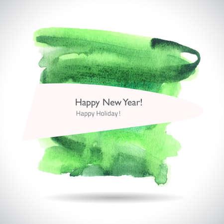 newyear: Watercolor handmade background. Vector mark. Colorful blot. Light, green spot. Watercolor frame.  Hand drawn. NewYear card