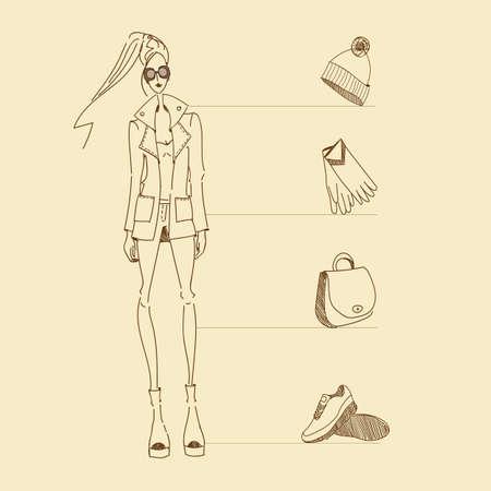 vintage lady: Vector fashion model. Vector sketch silhouette. Vector vintage lady. Dress pencil sketch. Vector fashion outline. Vector style  lady. Vector fashion girl. Accessories sketch set Stock Illustratie