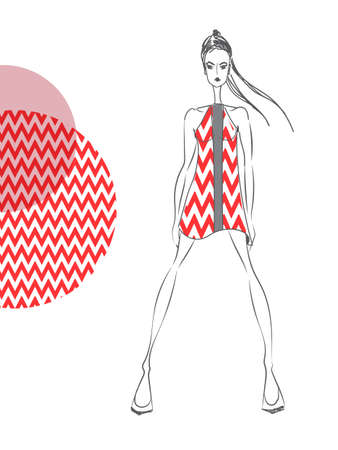 vintage lady: Vector fashion model. Vector sketch silhouette. Vector vintage lady. Dress pencil sketch. Vector fashion outline. Vector style  lady. Vector fashion girl. Vector red pattern Stock Illustratie